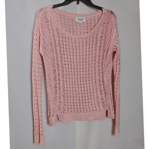 American Eagle Open Knit Pink Scoop Neck Sweater